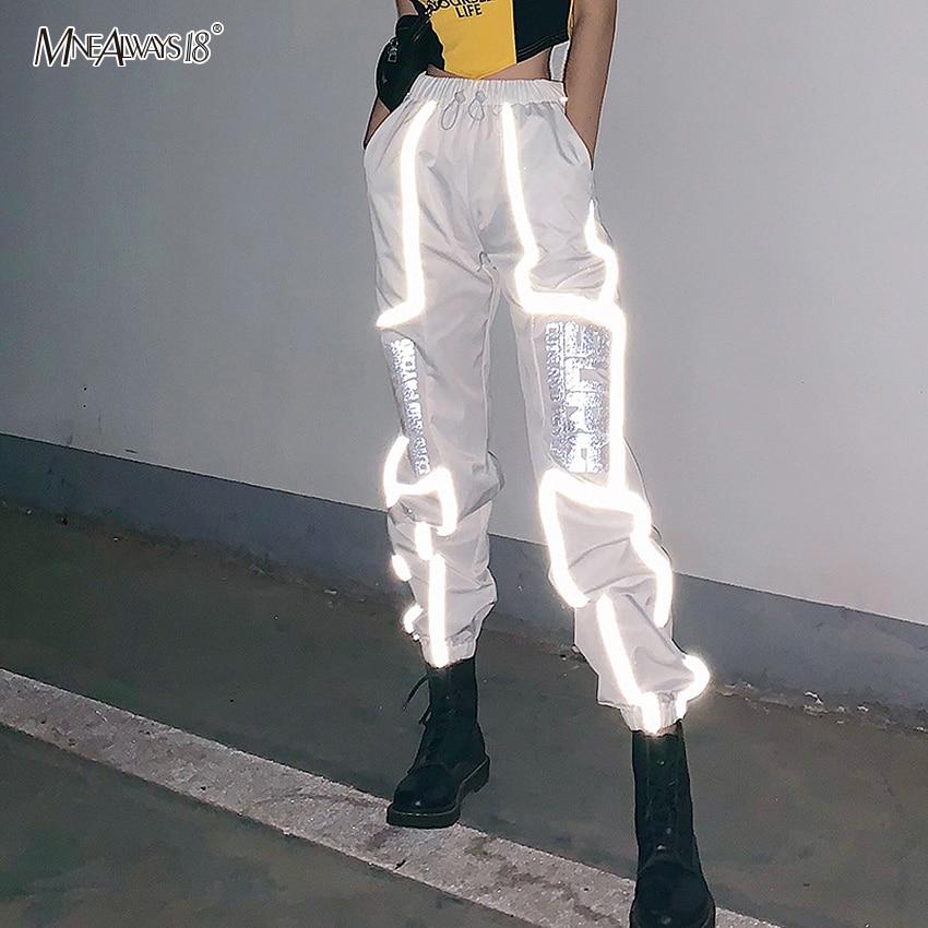 Mnealways18 2020 New Reflective Pants Women High Waist Letter Print Pants Jogger Drawstring Casual Pant Harem Streetwear Fashion