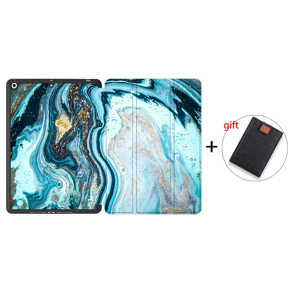 IPTPU02 White MTT Soft TPU Back Case For iPad 10 2 inch 7th 8th Gen Marble PU Leather