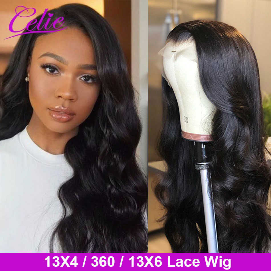 Celie Lace Front Human Hair Wigs Body Wave 180 200 250 density Pre Plucked 13x6 Lace Wig Brazilian Hair 360 Lace Frontal Wig