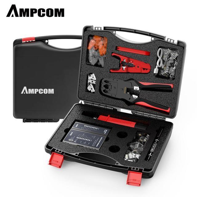 Network Tool Kit, AMPCOM 12 in 1 Professional Portable Ethernet Computer Maintenance LAN Cable Tester Repair Set