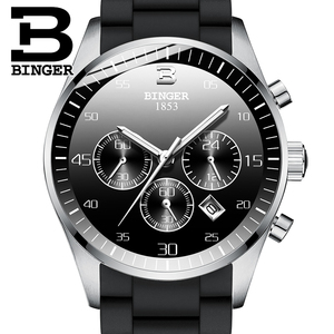 Szwajcaria BINGER męskie zegarki Top marka luksusowe sport zegarek chronograf kwarcowy mężczyźni Relogio Masculino 2019 nowy zegarek wojskowy