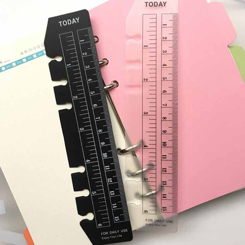 2pcs/lot  Classic PP 6 Holes Ruler For Binder Planner Notebooks,fine Office School Index Ruler Bookmark Notebooks Accessories