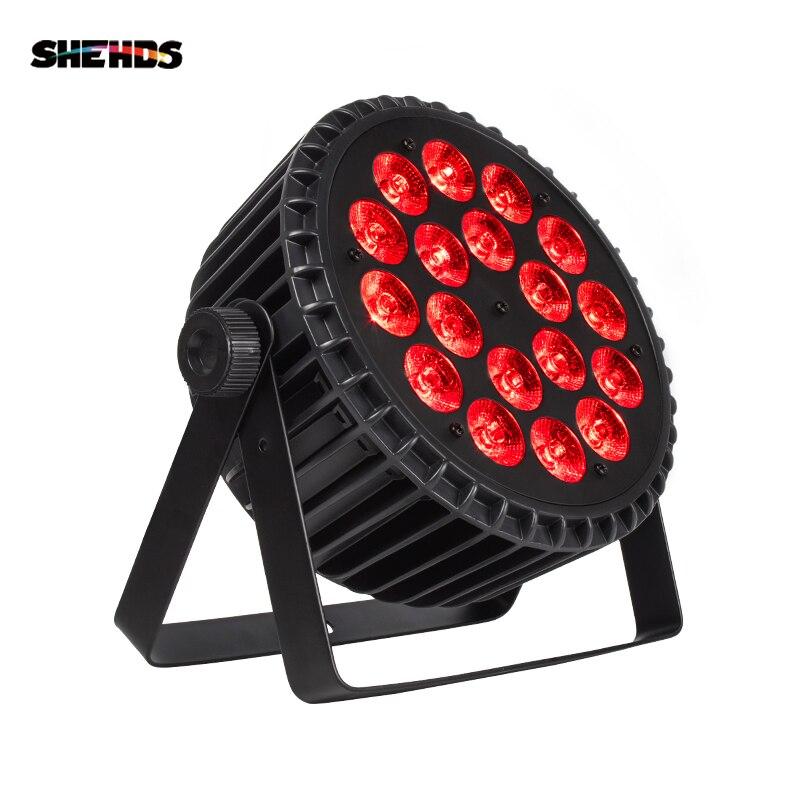 4 ピース/ロットアルミ合金 LED フラットパー 18 × 18 ワットの照明 DJ パー缶アルミ合金 DMX 512 ライト DMX Dj 照明ステージライト
