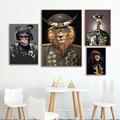 Скандинавский домашний декор Лев общий и обезьяна солдат забавные художественные принты животные живопись на холсте Декоративные плакаты картины