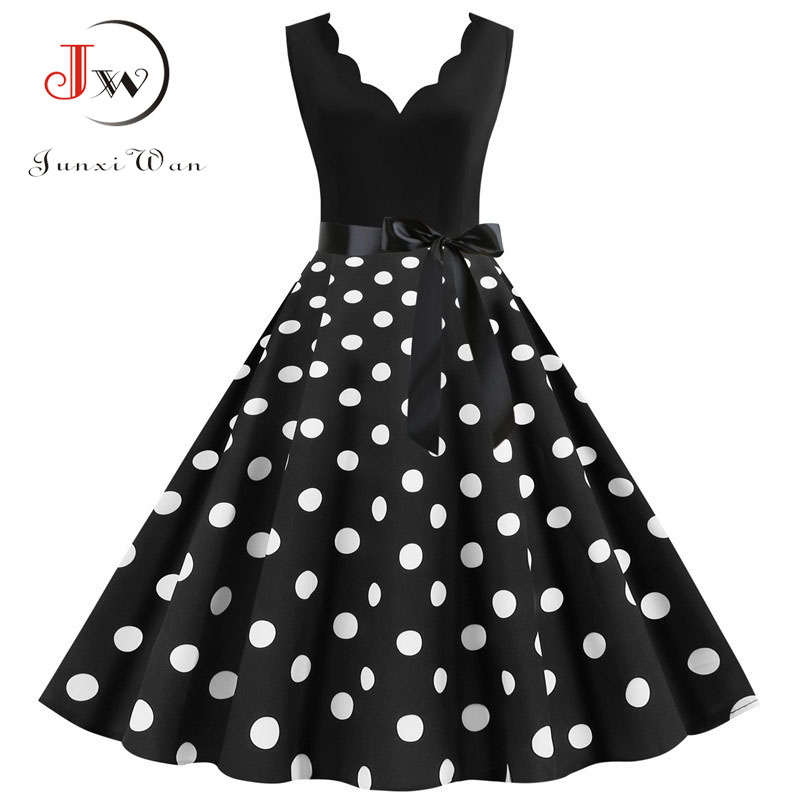 Polka Dot Print Vintage Women Summer Dress Black Patchwork Sleeveless V Neck Elegant Party Dresses Casual Plus Size Robe Midi