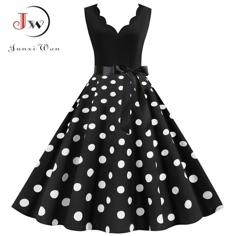 Polka Dot Print Vintage Women Summer Dress Black Patchwork Sleeveless V Neck Elegant Party Dresses Casual Plus Size Robe Midi