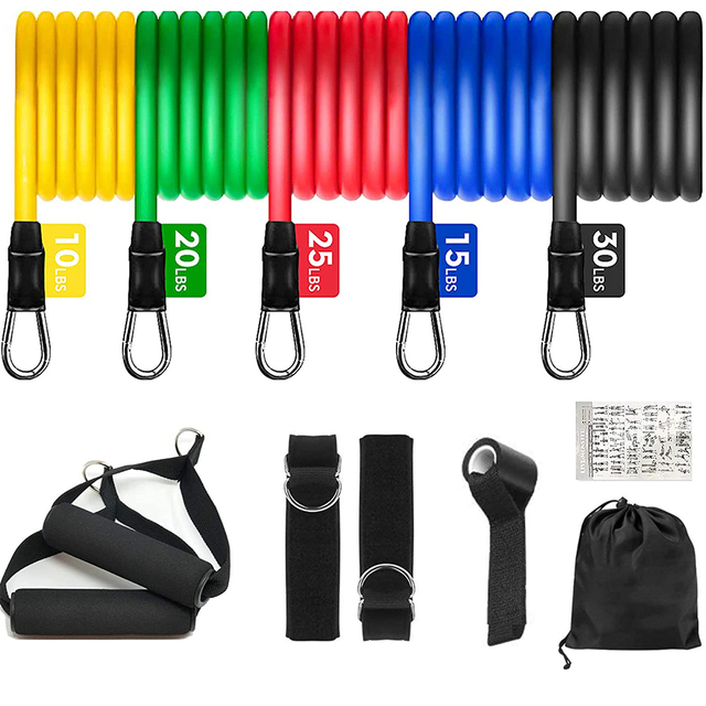 11PCS Resistance Bands Set Bodybuilding Home Gym Equipment Professional Weight Training Fitness Elastic Rubber Bands Expander 1