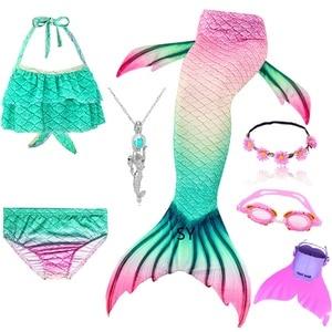 Image 3 - Hot Girls Swimming Mermaid Tail Cosplay Mermaid Costume Swimsuit With or No Monofin Fin Flipper Kids Swimmable Children Swimwear