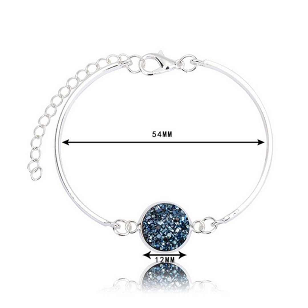 Czeski kolorowy okrągły bryła kryształowa bransoletka kreatywna żywica regulowana bransoletka kolor srebrny stop metali bransoletka kobiety biżuteria