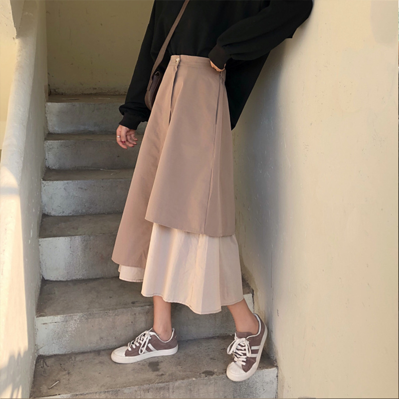 2020 Vintage Autumn Winter Women Irregular Pleated Skirt Long Skirts Elastic Waist Boho Beige Maxi Skirts Faldas Saia