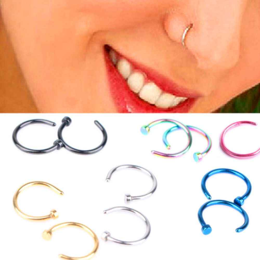 Fake Septum Medical Titanium Nose Ring Silver Gold Body Clip Hoop For Women Septum Piercing Clip Jewelry Gift 1 Pair