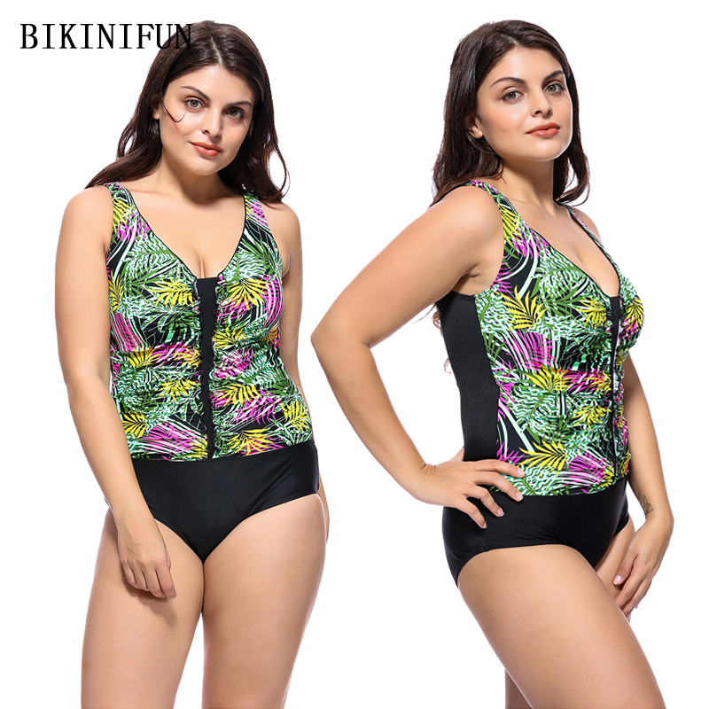 New Plus Size Swimsuit Women One Piece Swimsuit Deep V Neck Swimwear Retro Vintage Print Bathing Suit 2XL-6XL Patchwork Monokini
