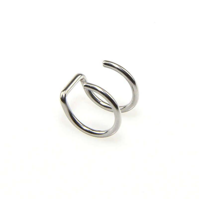 1 piezas Piercing falso cuerpo joyería Clip en pendientes de acero inoxidable oreja brazalete no Piercing Clip en pendientes de cartílago para las mujeres de los hombres