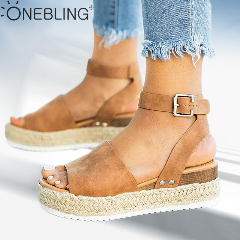 One Bling Plus Size Wedges Sandals Ankle Strap Women High Platform Summer Shoes 2019 Espadrilles Ladies Flat Sandals Open Toe