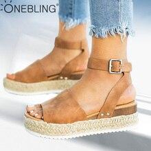 Один шикарный размера плюс босоножки на танкетке женские летние туфли на высокой платформе с ремешком на щиколотке г. Эспадрильи женские сандалии на плоской подошве с открытым носком