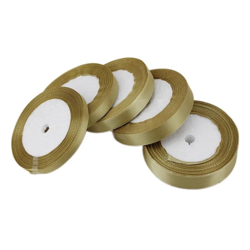 25 ярдов/рулон, бледно-Золотая атласная лента