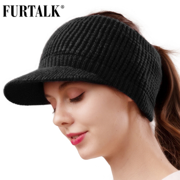 FURTALK Winter Hat Women Knitted Baseball Cap with Velvet Fleece Winter Sports Hat Messy High Bun Ponytail Visor Cap for Ladies 1