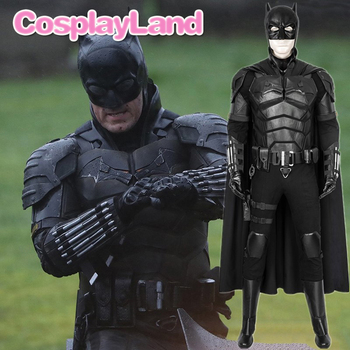 2021 Movie The Batman Bruce Wayne Cosplay Costume Fancy Halloween Outfit Adult Man Superhero Outfit Robert Pattinson Jumpsuit the batman bruce wayne latex mask superhero movie cosplay costume halloween party masks
