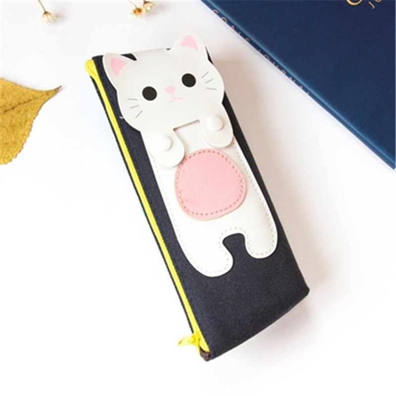 Kawaii Cute Cat Canvas Pencil Case Storage Organizer Pen Bags Pencilcase Pouch School Supply Stationery Cosmetic Makeup Bag Gift (51)