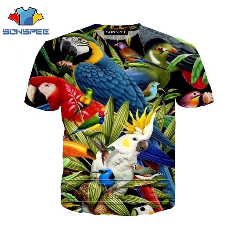Anime 3d Print T Shirt Streetwear Parrot Men Women Flower Weed Animal Bird Fashion T-shirt Harajuku Kids Shirts Homme Tshirt A98