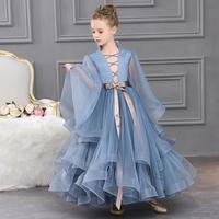Luxury Girl Princess Catwalk Evening Dress 2020 New Flowers Girls Wedding party Gown Piano Show Dress for girls vestidos L63