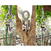 V Type Swivel Pulley 304 Stainless Steel Duplex Bearing Silent Detachable 360 Degree Rotation Heavy Duty Traction Wheel