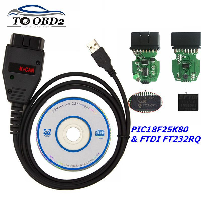Professional For VAG K+CAN Commander 1.4 With FTDI FT232RQ PIC18F25K80 Chip OBD2 Diagnostic Interface Cable For VW/for AUDI