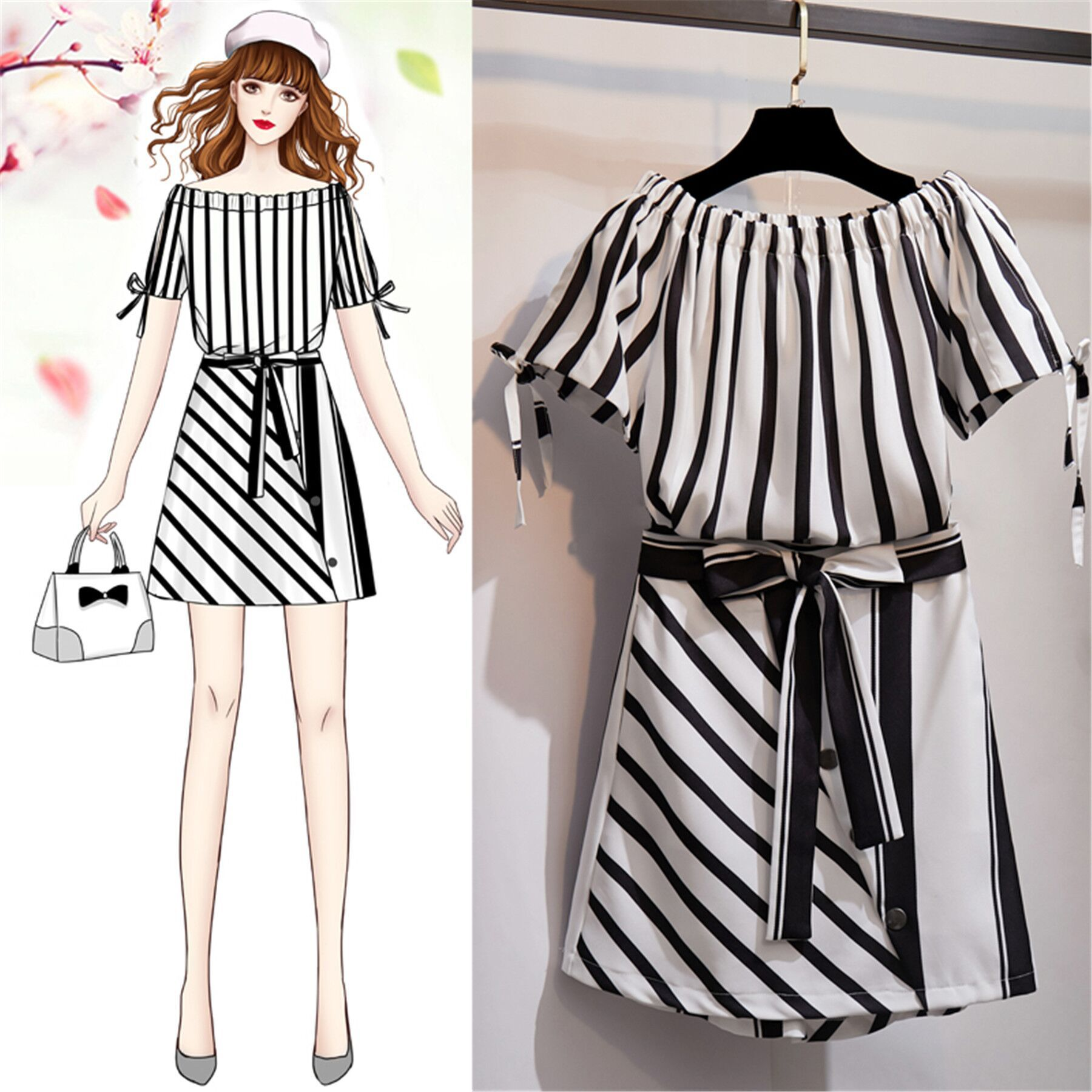 Large Size Dress New Style Dress Western Style Large GIRL'S Summer Wear Two-Piece Set Fashionable Online Celebrity Set