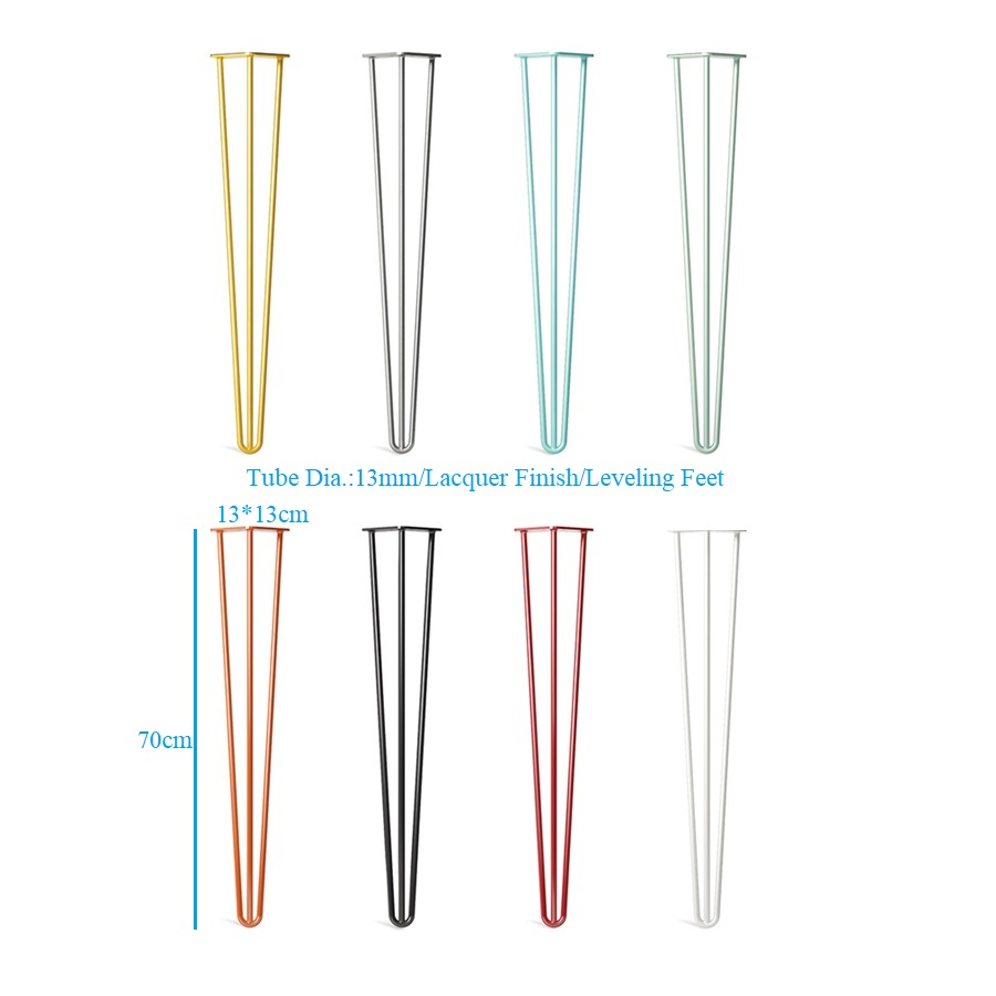 4PCS H70cm Steel Tube Hairpin Leg W Leveling Feet Table Desk Coffee Bar Raw Black White Golden Silver Green Blue Lacquer