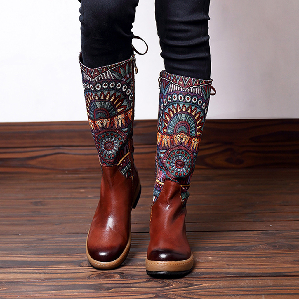 Low-Heel-Shoes Boot Embroidery Long-Tube Handmade Printed Women's Bohemia Ethnic Lady