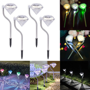 2020 4pcs Solar Light LED Garden Lights Colorful Outdoor LED Lamps Path Stake Decoration Diamonds Lawn Lamp Pathway Solar Lights new solar lights butterfly lawn lights colorful color lawn lights led outdoor garden placement decorative lights