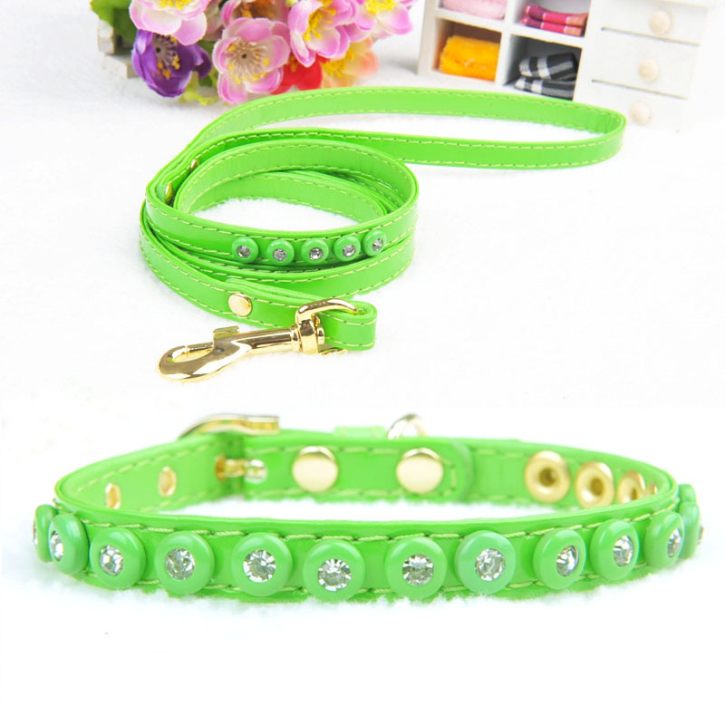 Cat Dog Neck Circle Amigo Solid Color Jiao Bao Drilling Pet Collar With Rope A Set