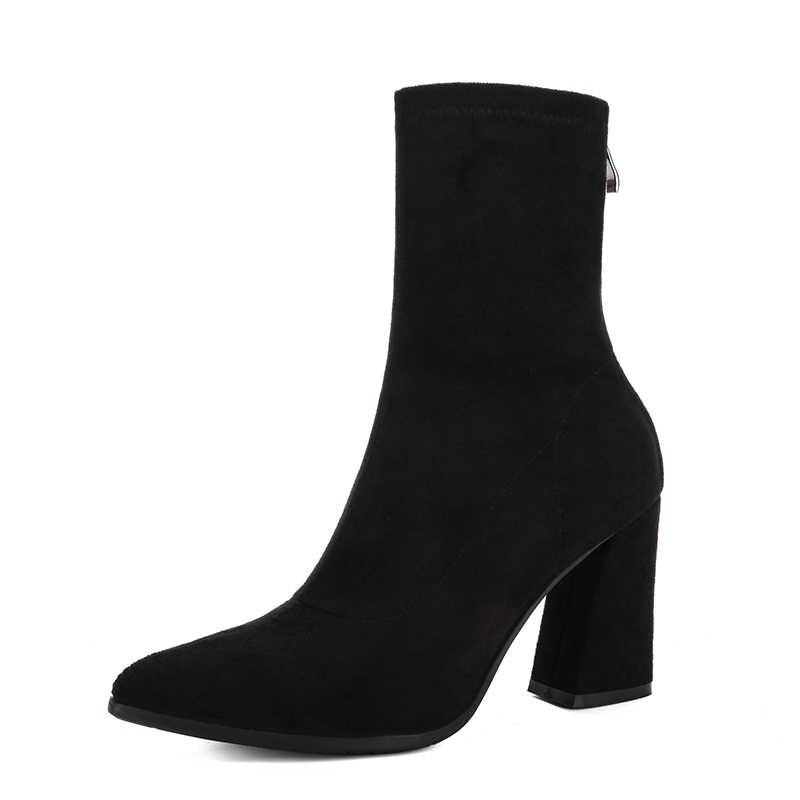 LZJ/женские ботинки черные эластичные вязаные сапоги женские модные ботильоны на высоком толстом каблуке с острым носком; женские туфли-лодочки; Новинка 2019 года