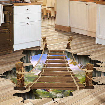 2020 New 60*90cm 3D Bridge Floor Wall Sticker Removable Mural Decals Vinyl Art Living Home Decors 1
