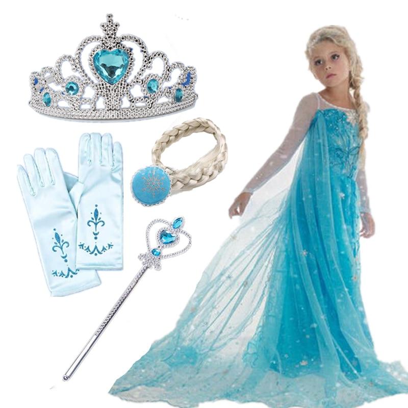Girls Costume Anna-Dress Christmas-Birthday-Sets Elsa Cosplay Fancy Halloween Party Princess