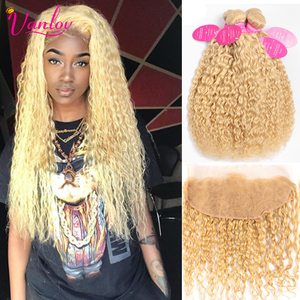 Vanlov 613 Blonde Bundles With Frontal Malaysian Water Wave Bundles With Frontal 613 Human Hair Bundles With Frontal Remy Hair