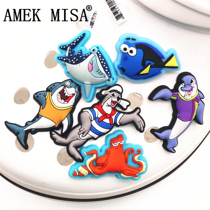 High Imitation 1Pcs Cartoon Shoe Charms Accessories Cute Funny Ocean Circus Shoe Decoration For Jibz Kid's Party X-mas Gifts