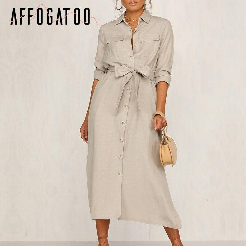 Affogatoo Casual Lapel Bow Cotton Long Party Dress Elegant Office Ladies Work Wear Dress Vintage Autumn Winter Shirt Dress Femme