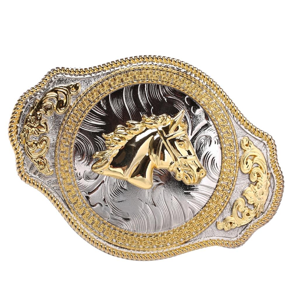Men Stylish Gold Horse Horsemanship Hip Hop Alloy Belt Buckle For 36-39mm Belt Gift