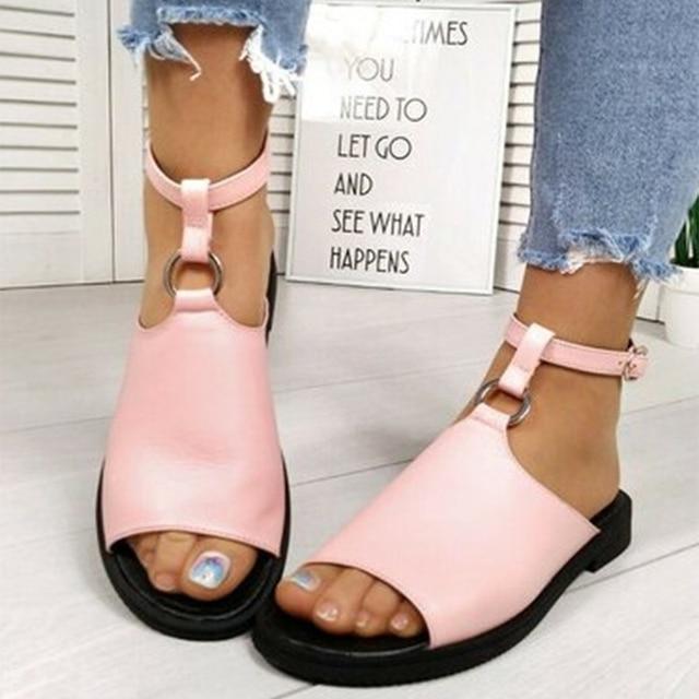 Sandalias de verano 2020, zapatos de mujer de talla grande 43, moda informal femenina, hebilla en el tobillo para zapatos, sandalias de mujer, calzado antideslizante para playa 3