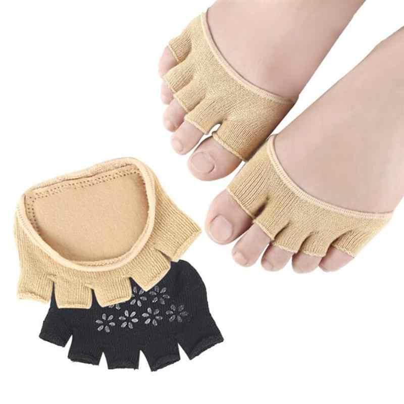 Ruimio 1 par de meias meia respirável heelless cinco toe meias curto peep toe meia meias para mulher de salto alto (caqui/preto)