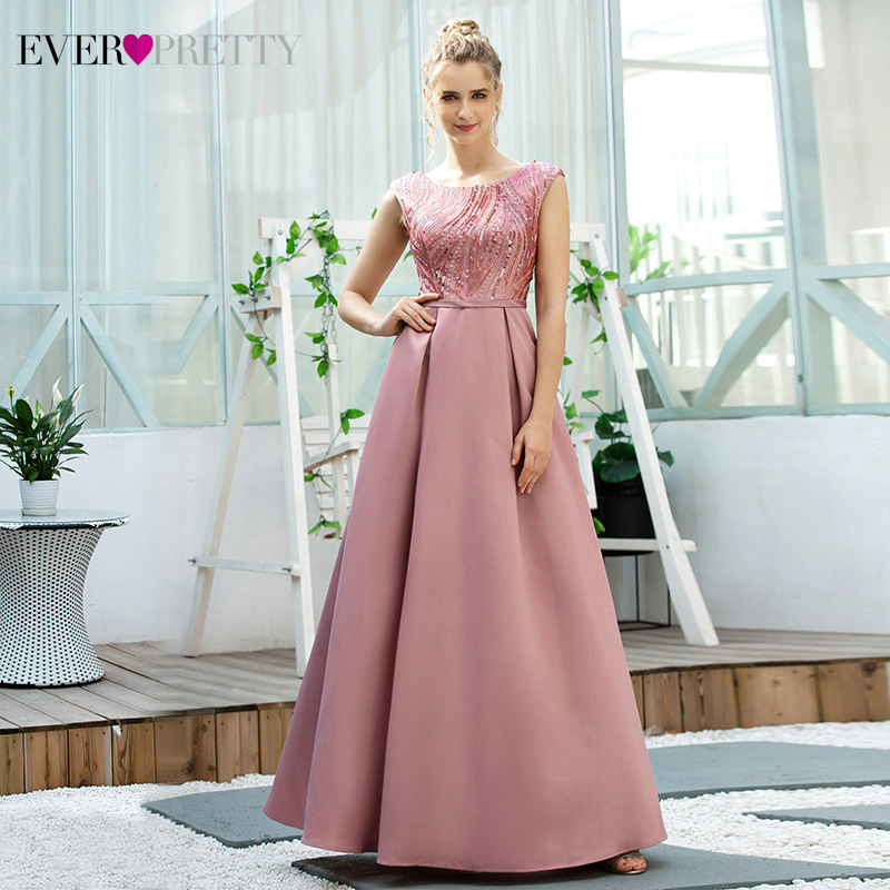 Sexy Dusty Pink Evening Dresses Ever Pretty A-Line Sequined O-Neck Draped Sleeveless Sparkle Satin Gowns Vestido Fiesta Largo