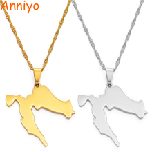 Anniyo Croatia Map Pendant Necklaces Gold Color Stainless St