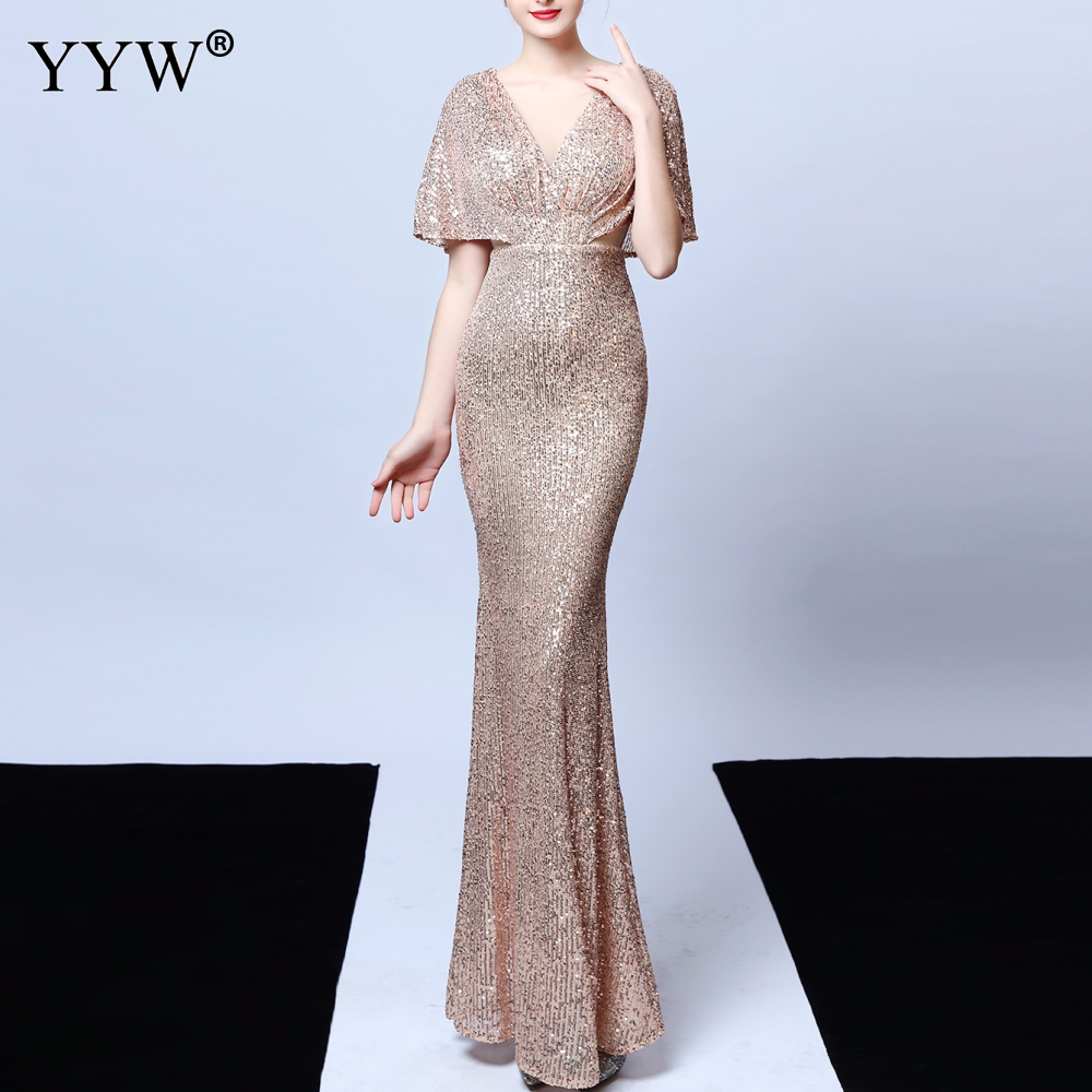 Gold Sequined Women Evening Dress Deep V Neck Sexy Robe De Soiree Flare Sleeve Backless Ladies Elegant Long Party Dress Vestidos