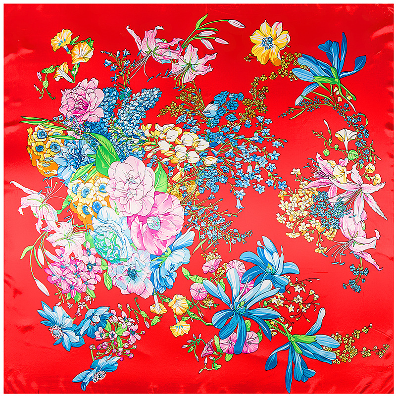 Beautiful Flowers Print Large Square Scarves New Female Bandana Silk Scarf Fashion Floral Ladies Hijab Kerchief Scarves 90*90cm
