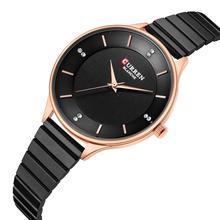CURREN Womens Watch Hot Sale Stainless Steel Wristwatches Top Brand Business Rhinestone Quartz High Quality Ladies Clock