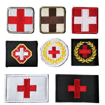 Embroidered Medic Cross Embroidery Patch Tactical Patch Decorative Badge Appliques Military Army Armband Clothing Cap Bag Patch фото