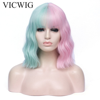VICWIG Cosplay Wig Black Pink Red Orange Pink Green Purple Blue Two-Color Stitching Short Curly Hair Synthetic Wig For Women 3 pilot svfm 20ef science calligraphy soft brush pink red orange black blue green writing supplies