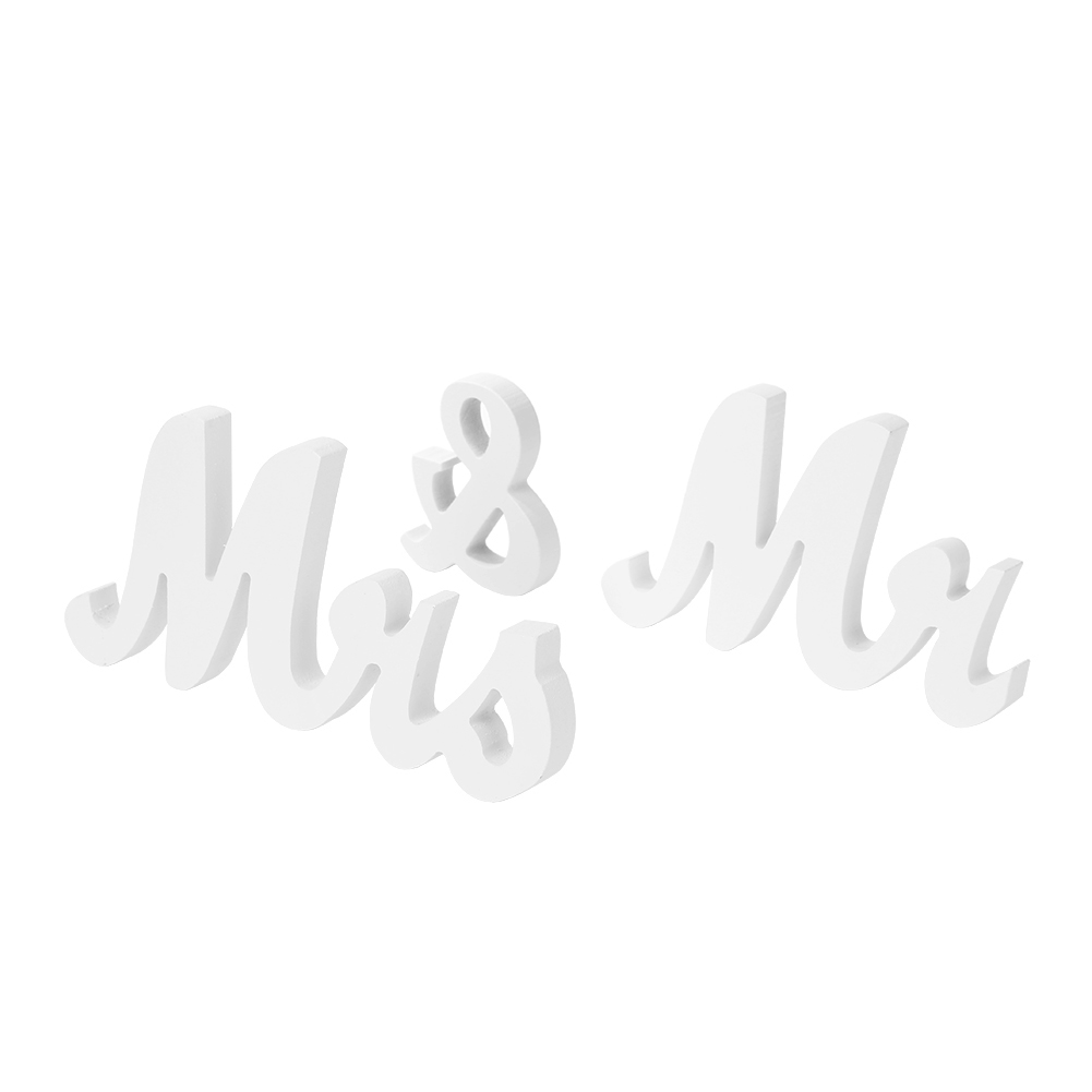 Table Centrepie Ornaments White Mr and Mrs Letters Wedding Marriage Party Retro Sign Table Decoration Accessories