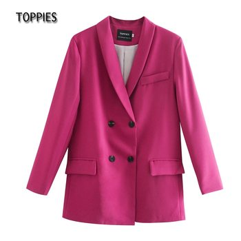 Toppies 2021 spring womens blazer suit double breasted jacket coat solid color office ladies formal suit 1